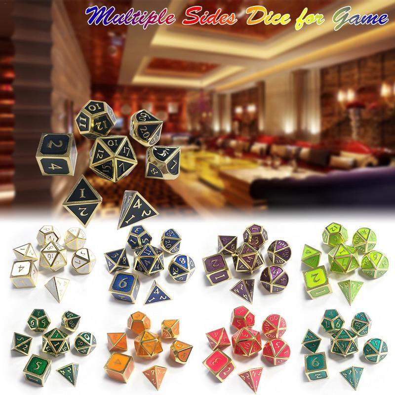 7Pcs 12MM~20MM New Outlet Font For Dungeons & Dragons 7pcs/set Innovative RPG Dice D&D Metal Dice Set Entertainment Supplies