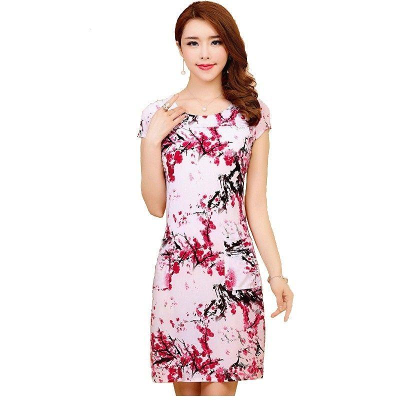 L-5XL 2019 robes de femmes grande taille Mince Tunique Lait Soie Imprimer Floral Imprimé Robe Feminino Lâche tenue décontractée