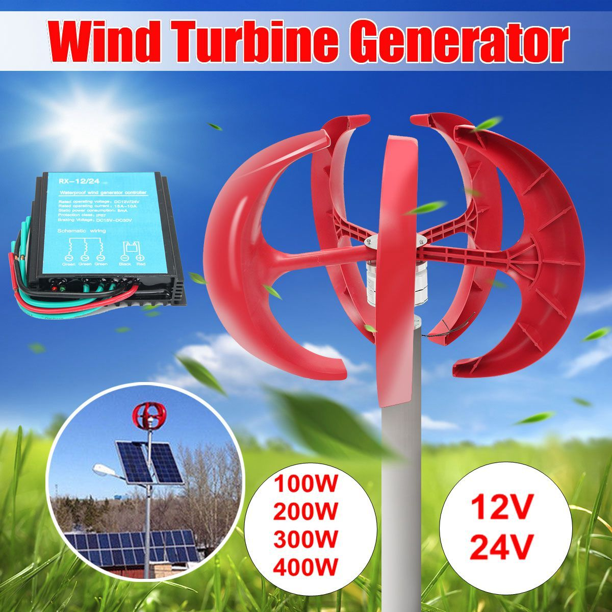 400 w 12 v/24 v Vertikale-Achse 5-Klingen 3-Phase AC Permanent-Magnet synchron Wind Generator