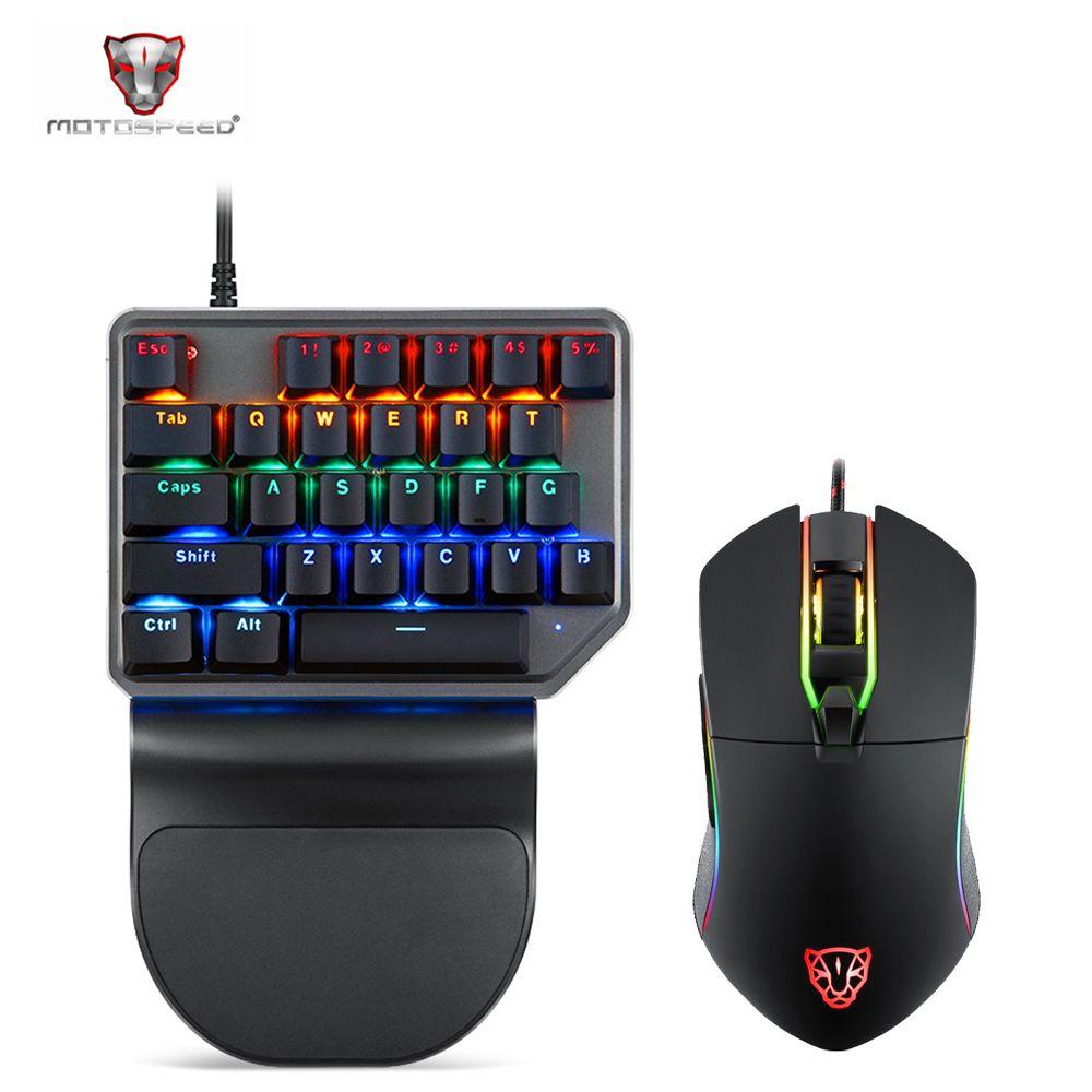 Motospeed Mechanische tastatur K27 V30 27 Schlüssel Single Hand Hintergrundbeleuchtung Gaming Tastatur 3500 DPI Maus Set Für Computer Notebook