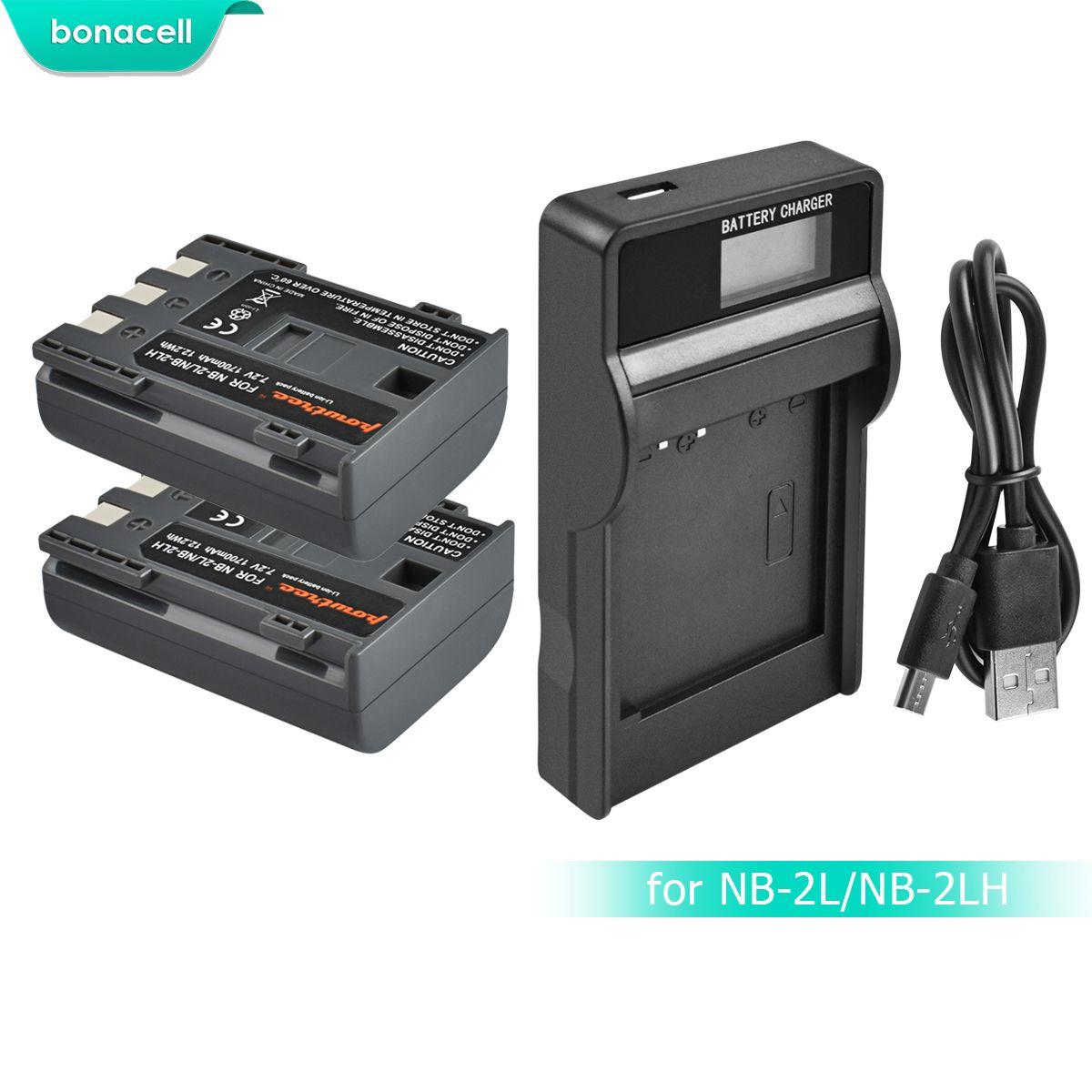 Bonacell 1700 mAh NB-2L NB2L NB-2LH NB 2LH NB2LH Batterie D'appareil Photo Numérique Pour Canon Rebel XT XTi 350D 400D G9 G7 S80 S70S30 L10