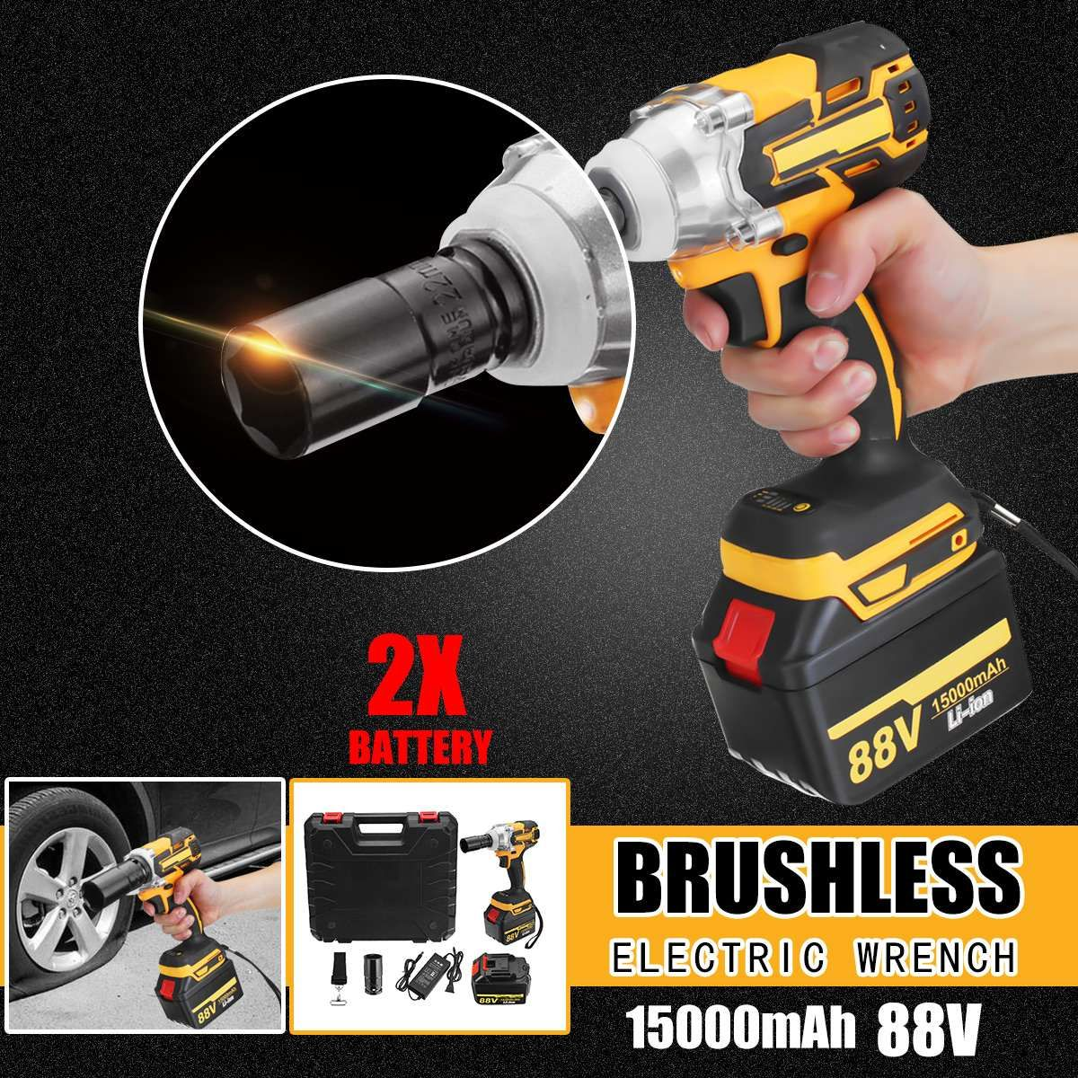 88V 15000mAh Rechargeable Battery Brushless Electric Impact Socket Wrench Car Dual Speed Cordless Socket Electric Impact Drill