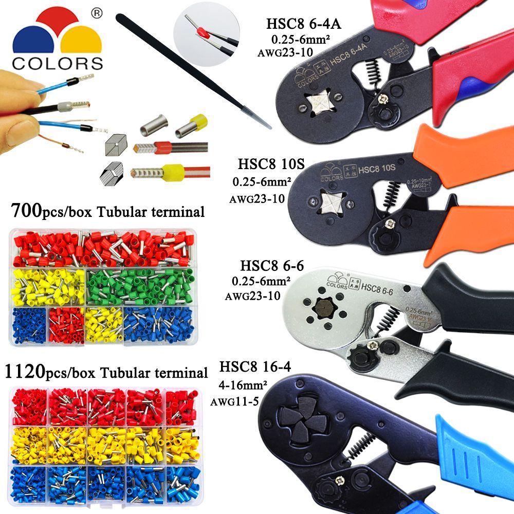 HSC8 10 s 0.25-10mm2 23-7AWG HSC8 6-4A/6-6 0.25-6mm2 HSC8 16-4 pince à sertir électrique tube terminaux boîte mini marque pince outils