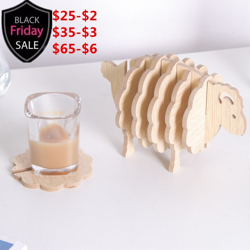6pcs/set Table Cup Mat MDF Coasters Creative Place Mat Office Supplies Coffee Cup Mat Home Decor DIY Handmade Sheep Shape Gift
