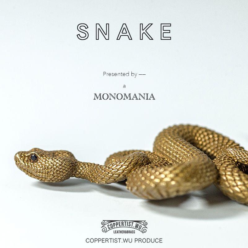 Coppertiste. wu laiton métal serpent forme porte-clés à la main porte-clés mode animal porte-clés sac à main pendentif