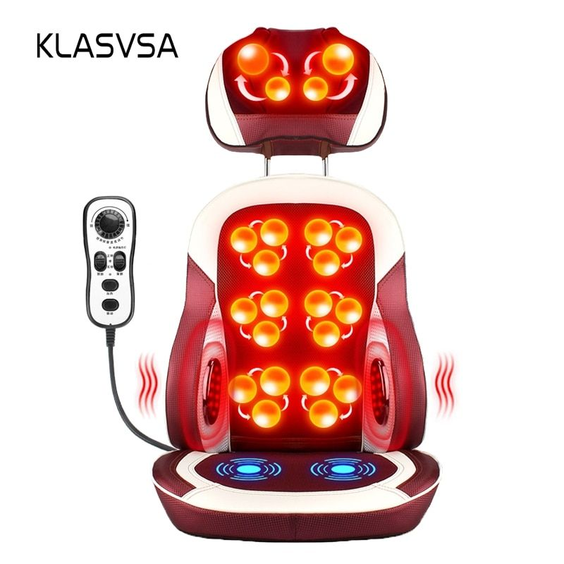 KLASVSA Eelectric Heating Kneading Massage Chair Infrared Physical Therapy Neck Pillow Back Massage Relax Seat Cushion Vibrator
