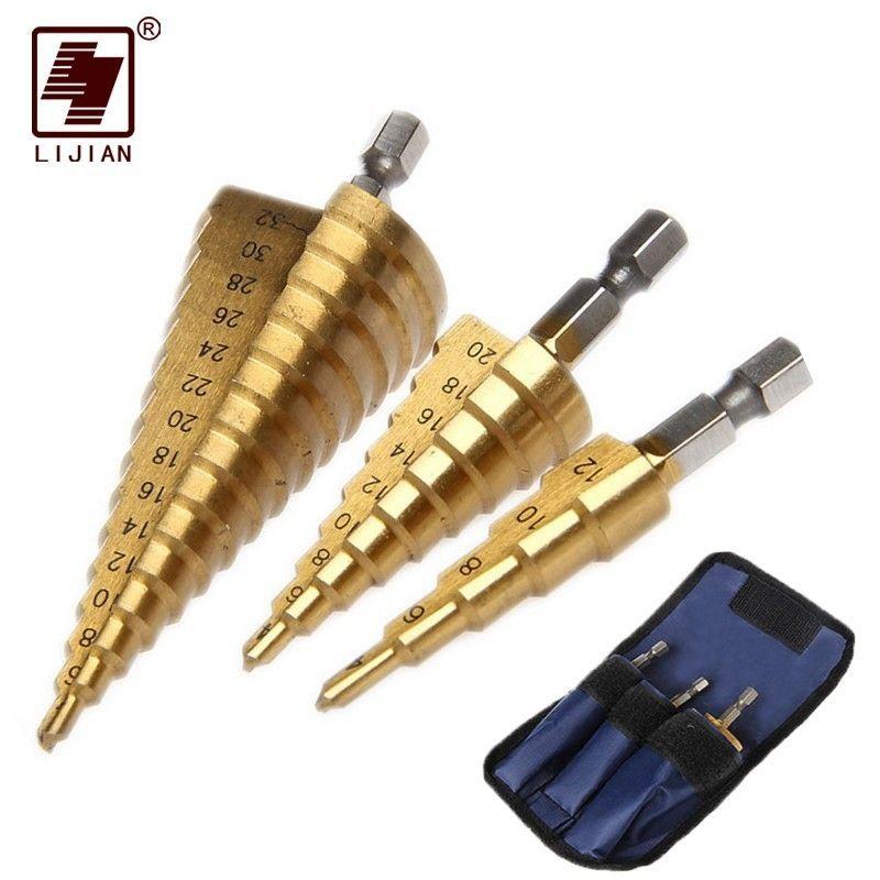 LIJIAN 3 pièces 1/4 Hss pas à pas cône conique foret ensemble trou Cutter métrique titane enduit métal hexagonal pas à pas forets 4-12/20/32mm
