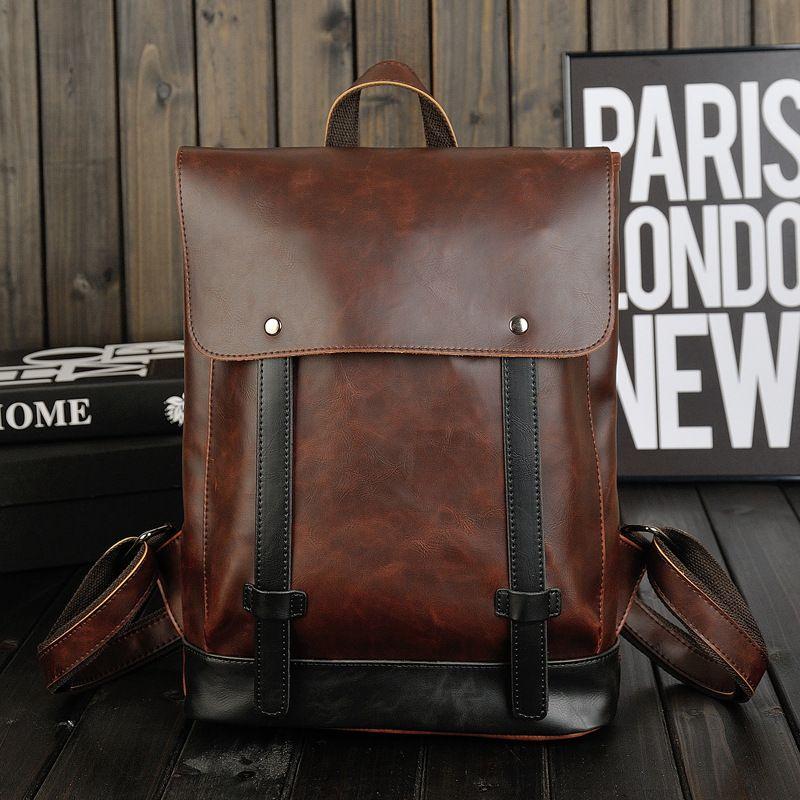 Marron homme femme sac à dos Vintage hommes femmes PU cuir sac à dos ordinateur portable sac à bandoulière sacoche voyage sacs Feminina sac à dos