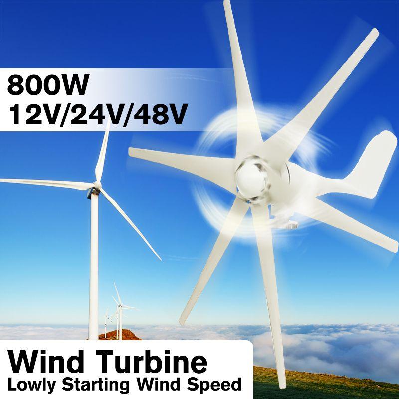 800 W 12 V 24 V 48 Volt 6 Nylon Faser Klinge Horizontale Hause Wind Turbinen Wind Generator Power Windmühle energie Turbinen Ladung