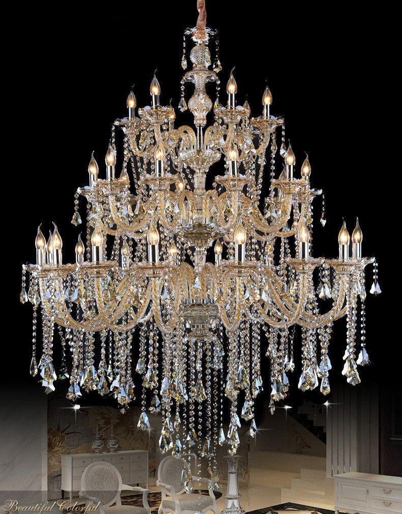 Hotel Große anhänger kristall kronleuchter led lustre beleuchtung für wohnzimmer kirche treppen zimmer groß led kerze kronleuchter lamparas