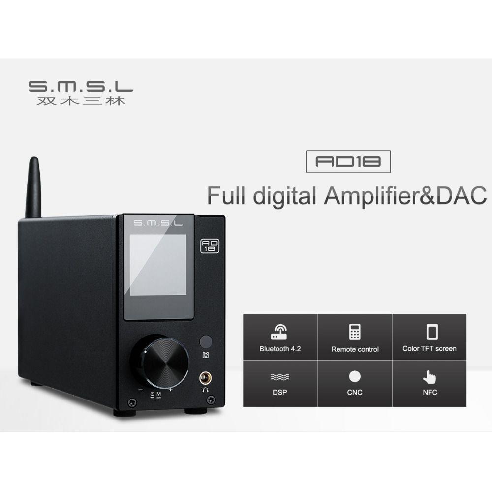 SMSL AD18 Full digital Verstärker & DAC 80 W * 2 DSP HIFI Bluetooth 4,2 NFC Optische/Koaxial USB DAC Decoder mit Fernbedienung