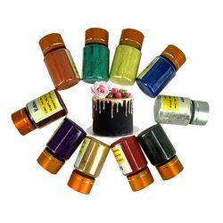 8 цветов доступны торт выпечки Инструменты Помады Пигмент Цвет еда окраски 10 г на бутылку съедобные золотой порошок