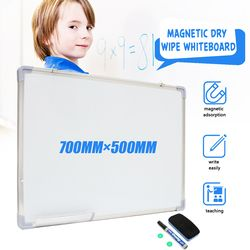 Kicute 500x700MM Magnetic Dry Erase Whiteboard Writing Board Double Side With Pen Erase Magnets Buttons For Office School