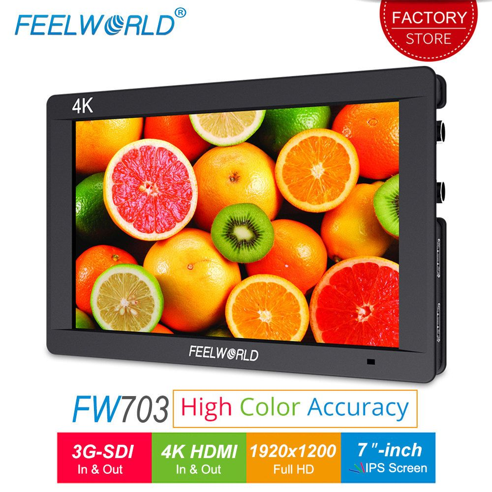 Feelworld FW703 7 inch 3G SDI 4K HDMI Camera Field Monitor Full HD 1920x1200 IPS LCD Monitor Display for DSLR Cameras Stabilizer