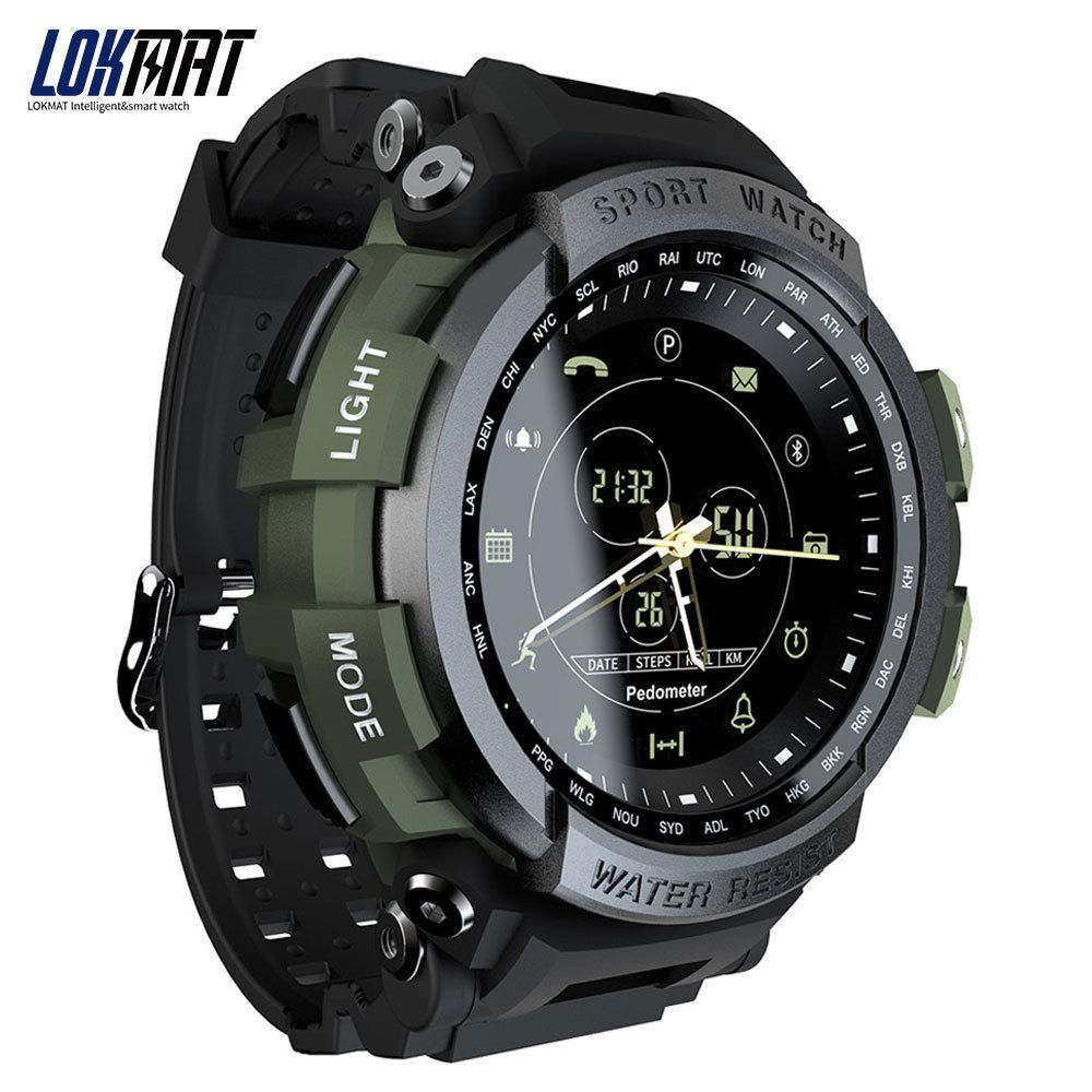 LOKMAT SmartWatch Sport Pedometer Bluetooth 50M Waterproof Information Reminder Digital Men Smart Watch For Ios And Android