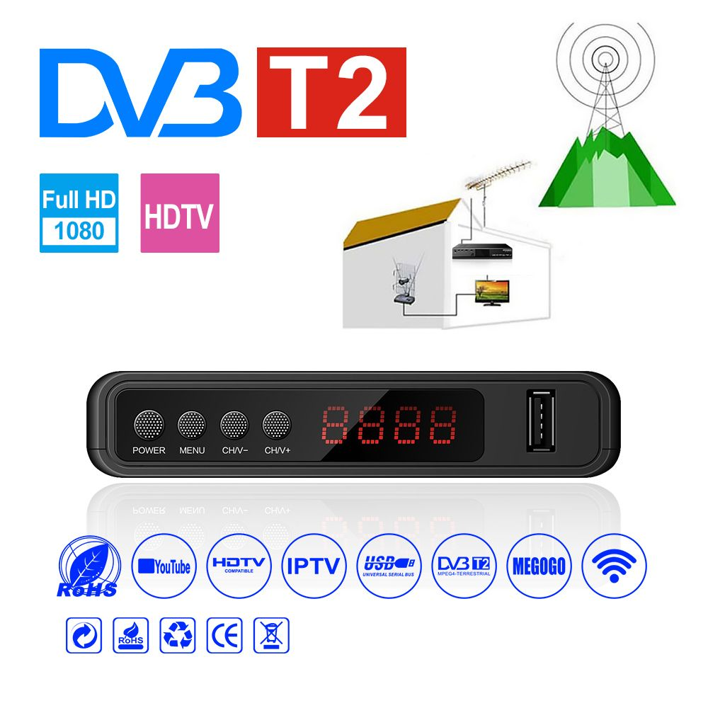 HDMI Satellite Tv Receiver Tuner Dvb T2 Wifi Usb2.0 Full-HD 1080P Dvb-t2 Tuner TV Box Dvbt2 Built-in Russian Manual With Antenna