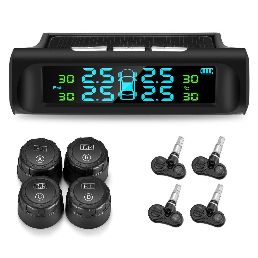 C240 Solar Car Tire Pressure Monitoring System Solar USB Charging TPMS LCD Display Auto Alarm System 4 External Internal Sensors