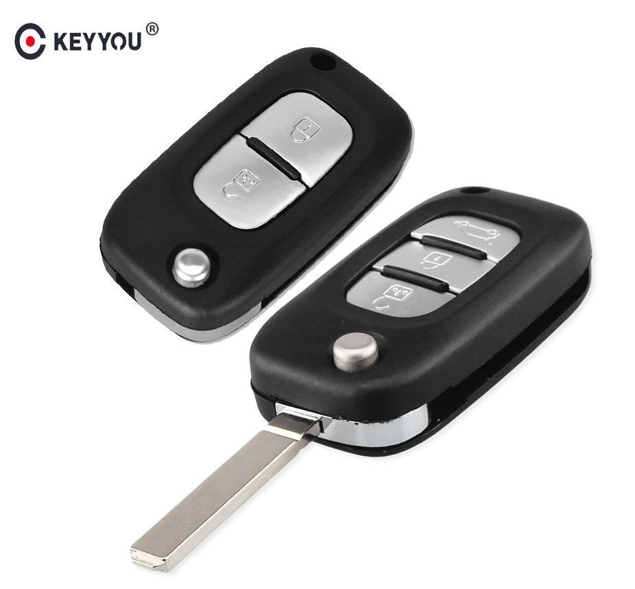KEYYOU 2/3 Tasten Auto Remote Key Fall Abdeckung Flip Fob Folding Uncut Blade-Shell für Renault Fluence Clio/Megane /Kangoo Modus