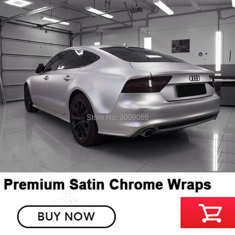 Hochwertige silber vinyl auto wrap film car wrapping Mit Air Bubble Kostenlose Satin Chrome serie Importiert kleber Garantieren qualität