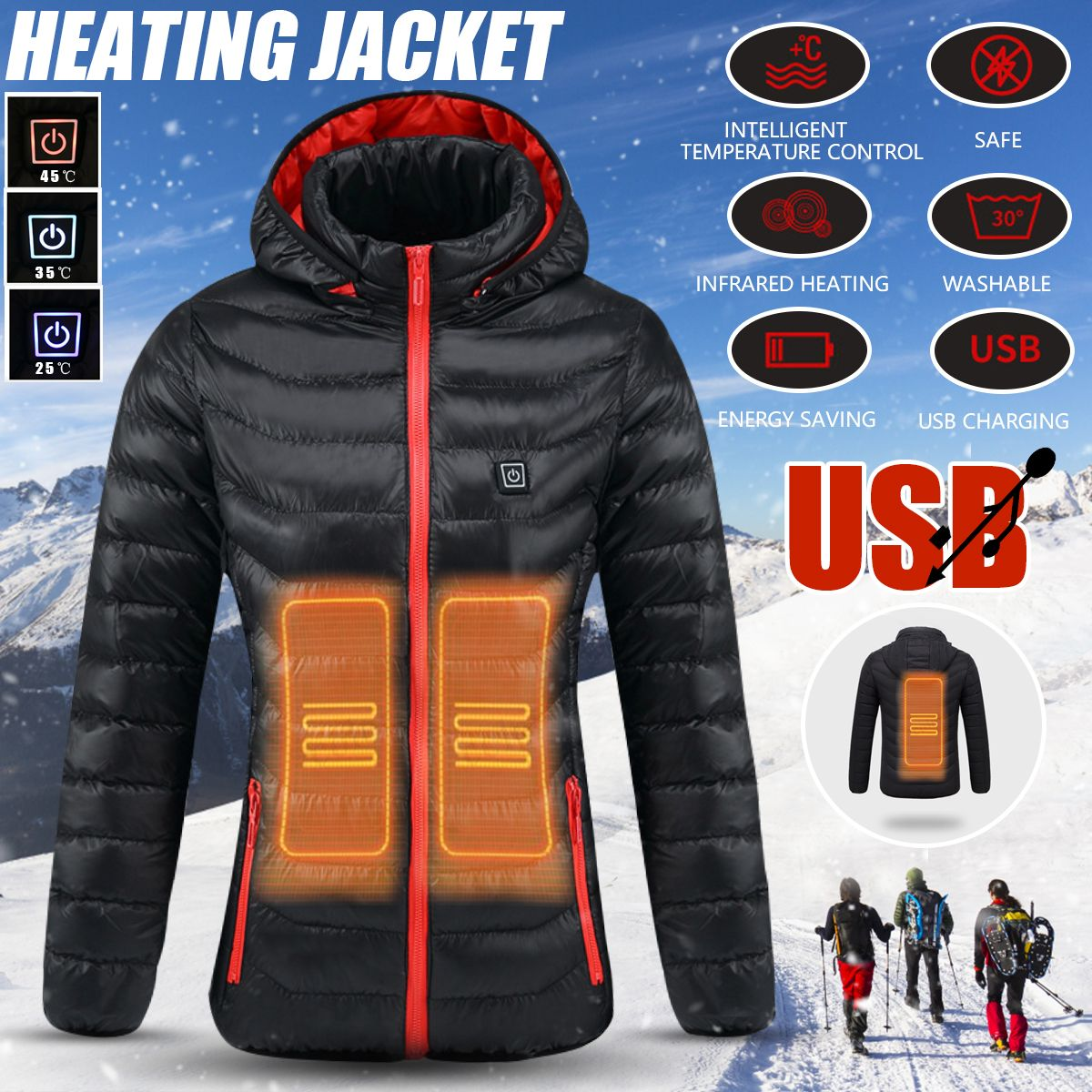 Women Winter USB Heating Jacket Heated Safety Jacket Hooded Work Coats Adjustable Temperature Control Safety Clothing S/M/L/XL