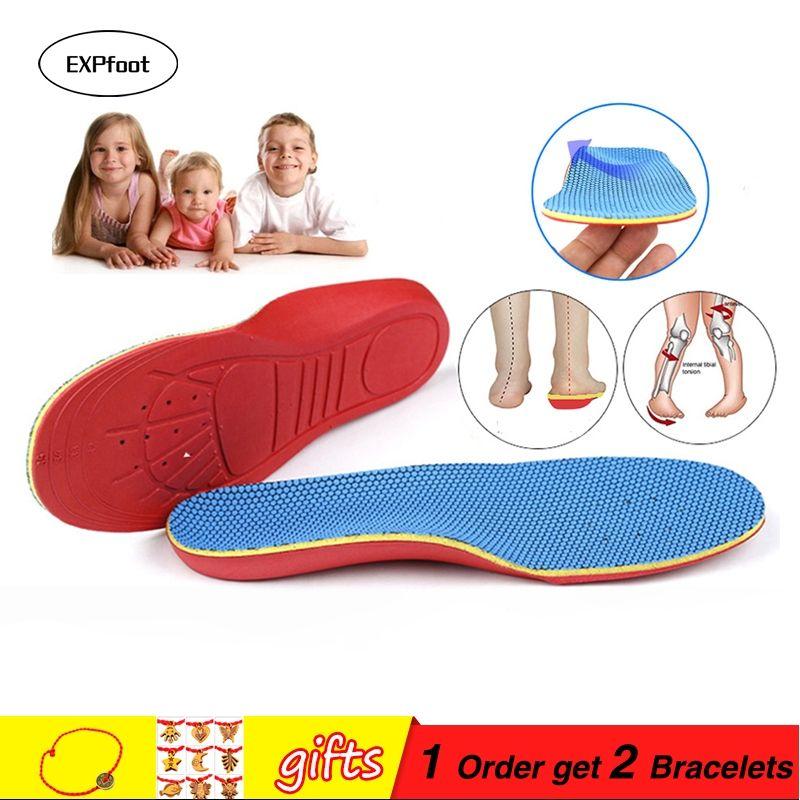 EXPfoot enfant en mousse à Mémoire de forme orthopédique semelles pour enfants chaussures plates de soutien de la voûte plantaire Coussinets orthopédiques Correction soins des pieds