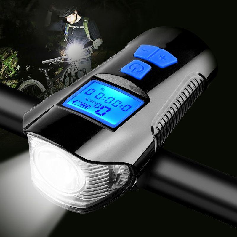 Lumière de bicyclette imperméable USB charge vélo avant lumière lampe de poche guidon vélo tête lumière w/klaxon compteur de vitesse écran LCD