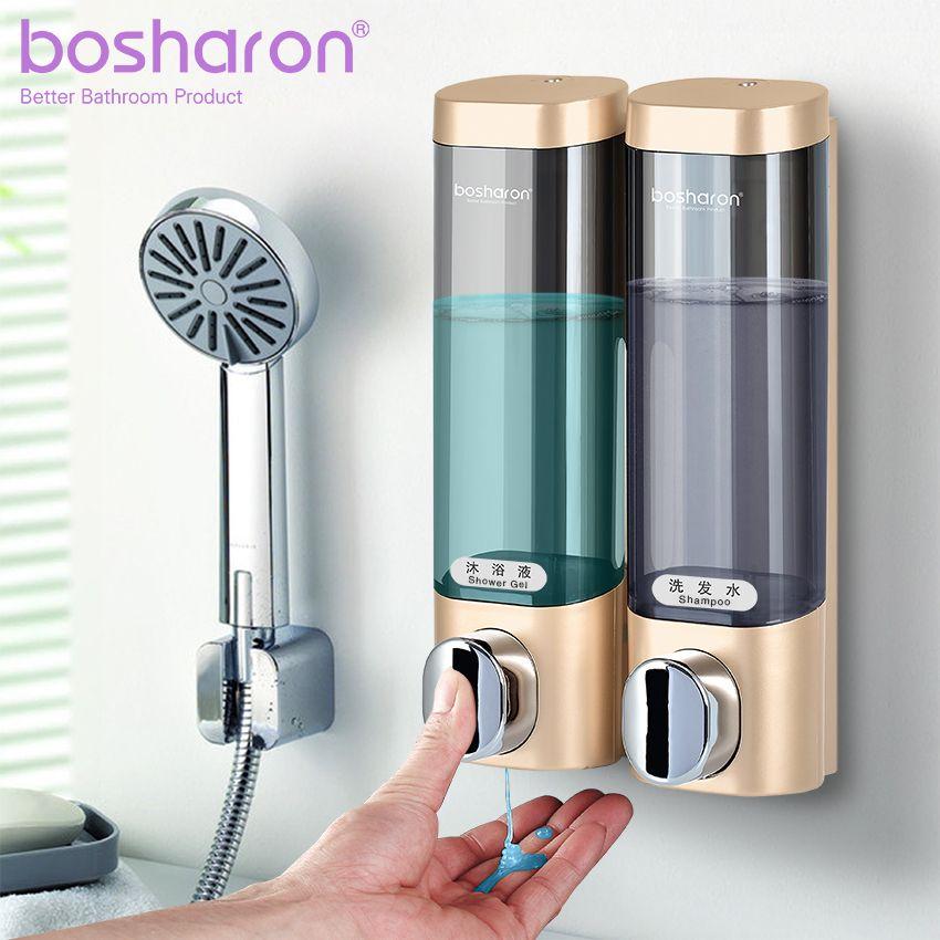 Distributeur de savon liquide montage mural 300ml accessoires de salle de bain en plastique détergent shampooing distributeurs Double main cuisine savon bouteille