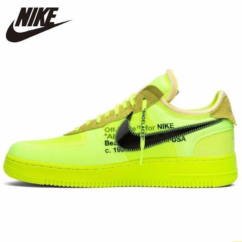 Nike Air Force 1 OFF-WEIß OW Männer Skateboard Schuhe Fluoreszenz Grün Bequeme Turnschuhe # AO4606-700