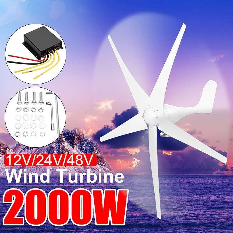 2000 W 12/24/48 Volt Hause Wind für Turbinen Generator Power Nylon Faser 3/5 Klinge Horizontale Windmühle energie für Turbinen Ladung