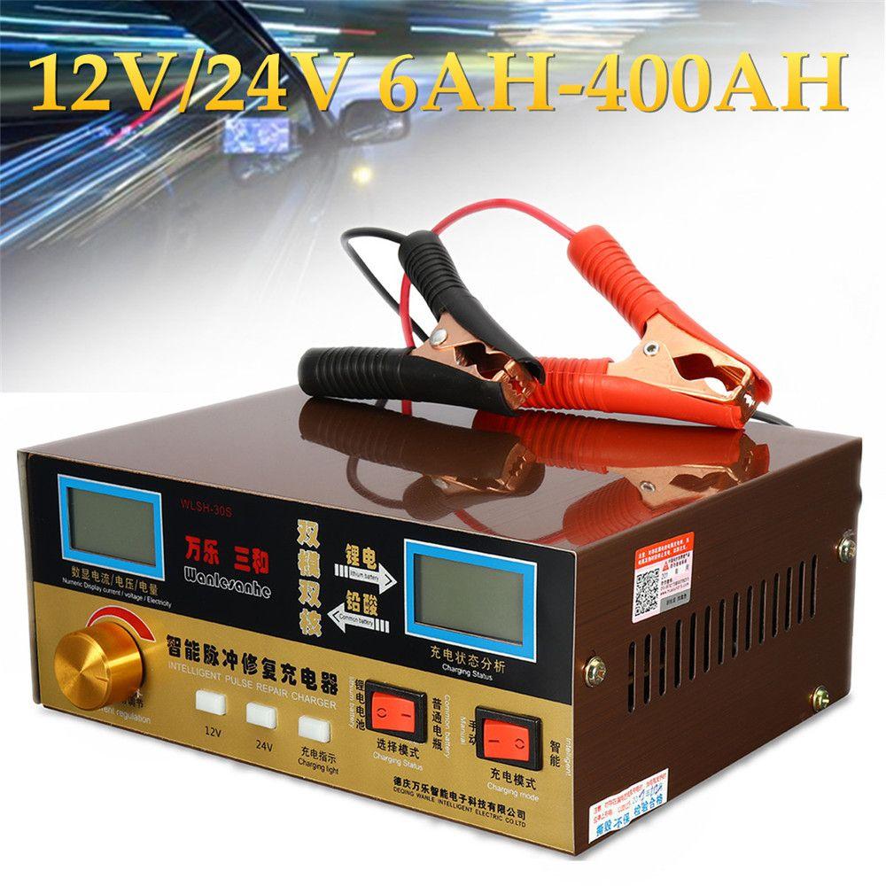 Automatische Auto Batterie Ladegerät Intelligente Puls Reparatur Typ 110 v-250 v 12 v/24 v 6AH-400AH Überhitzen kurzschluss Reverse Schützen