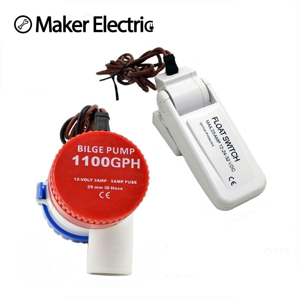 Pompes de cale, et combinaison d'interrupteur de cale, pompe de cale 12v 1100gph pompe à eau utilisée dans les bateaux