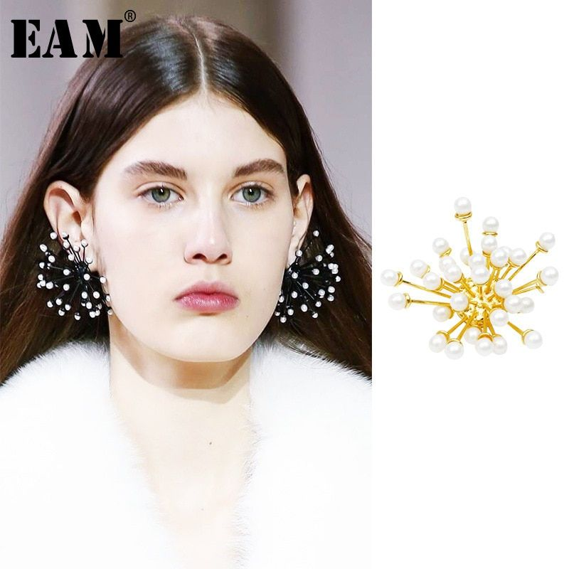 WKOUD EAM Jewelry / 2019 New Fashion exaggerated fireworks styling imitation pearl earrings Women's Accessories S#R123608