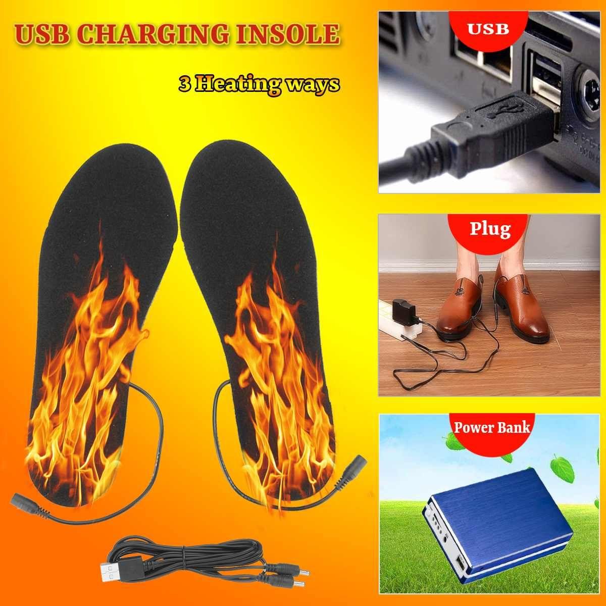 Elektrische Beheizte Einlegesohlen Winter Männer Frauen Erhitzt Schuh Einsätze Aufgeladen Einlegesohlen für Schuhe Boot Warme Socken USB Ladekabel