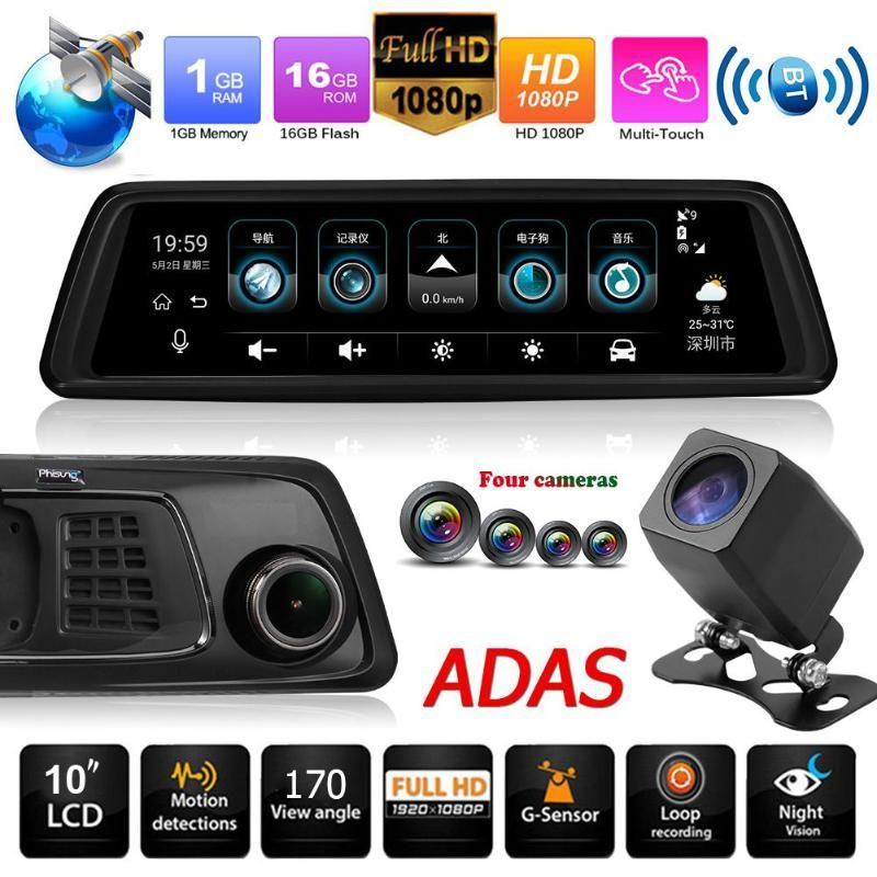 Phisung V9 9.88in IPS Touch Screen 4G SIM WiFi 1296 P Auto Rückspiegel DVR Video Recorder GPS BT ADAS Dash Cam mit 4 Kameras