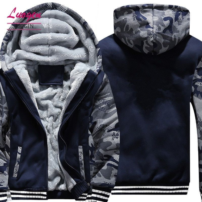 US/EU SIZE Super Warm Hoodies Sweatshirts for Men Winter Thick Fleece Men's Jackets Casual Zip up Hoody Adult Coats Top