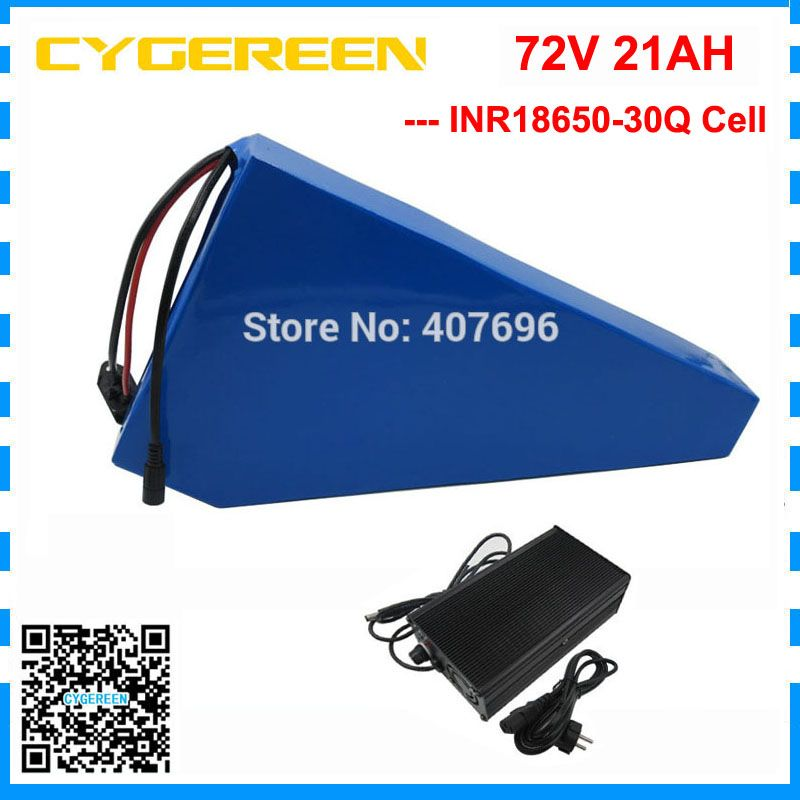 Hohe qualität 5000 W 72 V batterie pack 72 V 21AH dreieck batterie 72 V fahrrad batterie verwenden 30Q zelle 70A BMS mit 84 V 2A Ladegerät