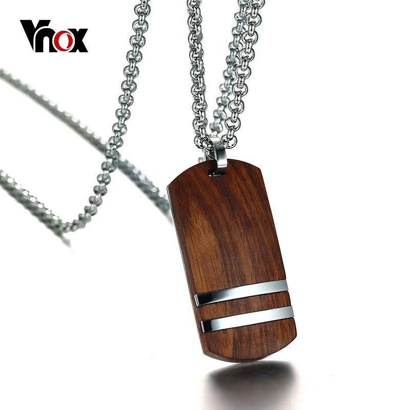 Vnox Top Rosewood Hommes Collier Unique Qualifié En Bois Pendentifs et Colliers Bijoux En Acier Inoxydable Chaîne Réglable 22-24