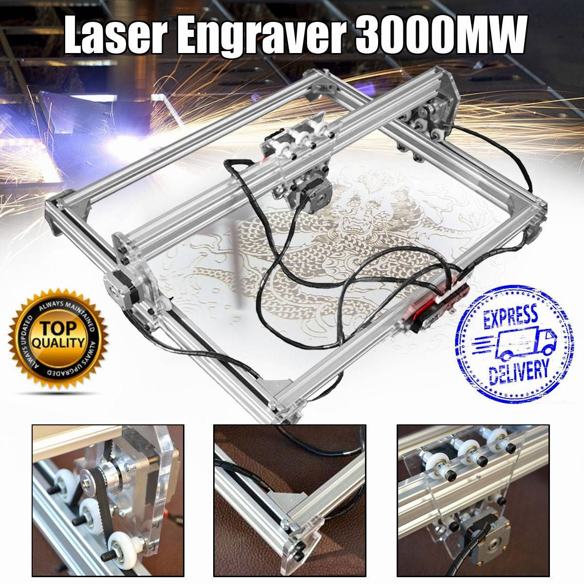 50*65cm Mini 3000MW Blue Laser Engraving Engraver Machine DC 12V DIY Desktop Wood Cutter/Printer/Power Adjustable+ Laser Goggles