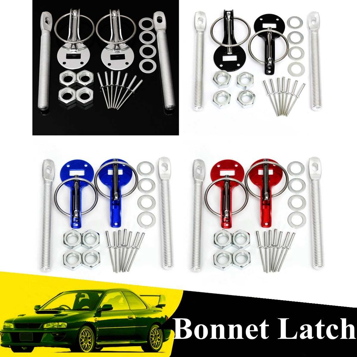 Universal 4 color Pair Cars Aluminum Alloy Mount Hood Pin Bonnet Lock Kit Automobile Refitting Kit Car Styling Accessaries