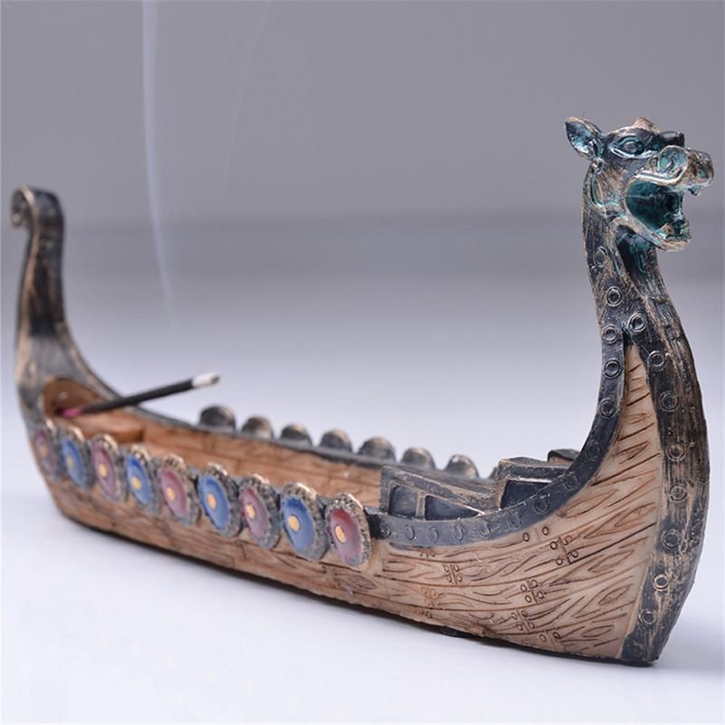 Dragon Boat Incense Stick Holder Burner Hand Carved Carving Censer Ornaments Retro Incense Burners Traditional Design #SO