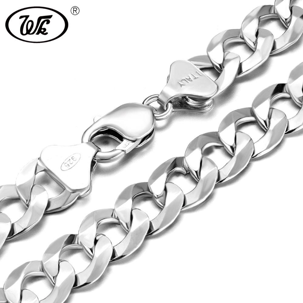 WK Super Lange Dicken Männlichen Herren Silber Kette 925 Sterling Silber Hip Hop Halskette Für Männer 50 55 60 65 70 75 cm 4mm-12mm W4 NM005