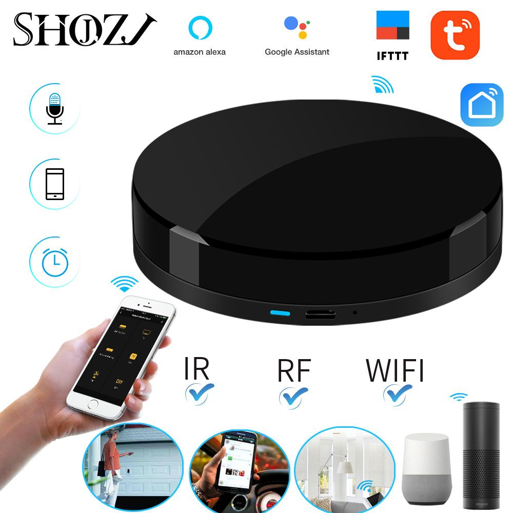 Voice Control Alexa Google HOME TUYA Universal Smart Remote Smart Home Smart Home Automation WIFI+IR+RF for Smart Home SHOJZJ