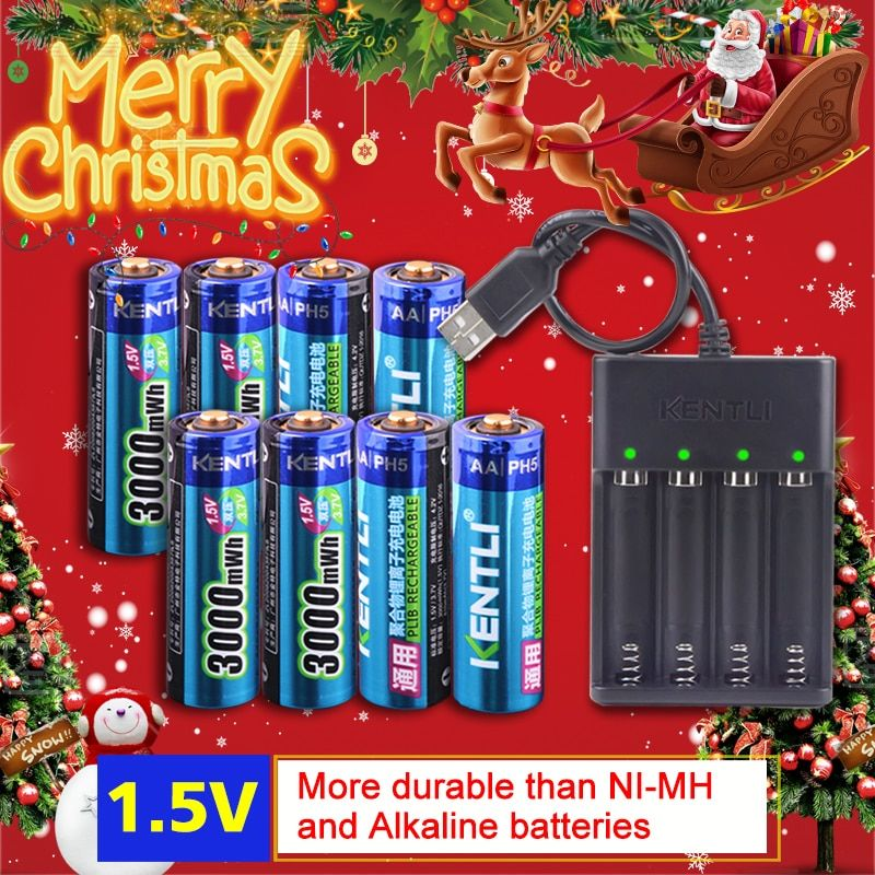 KENTLI 8pcs 1.5v 3000mWh AA rechargeable Li-polymer li-ion polymer lithium battery + 4 slots USB smart Charger