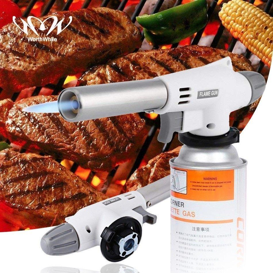 Pistolet à flamme électronique automatique utile brûleur à gaz BBQ chauffage au gaz Butane torche étanche briquet randonnée équipement de Camping