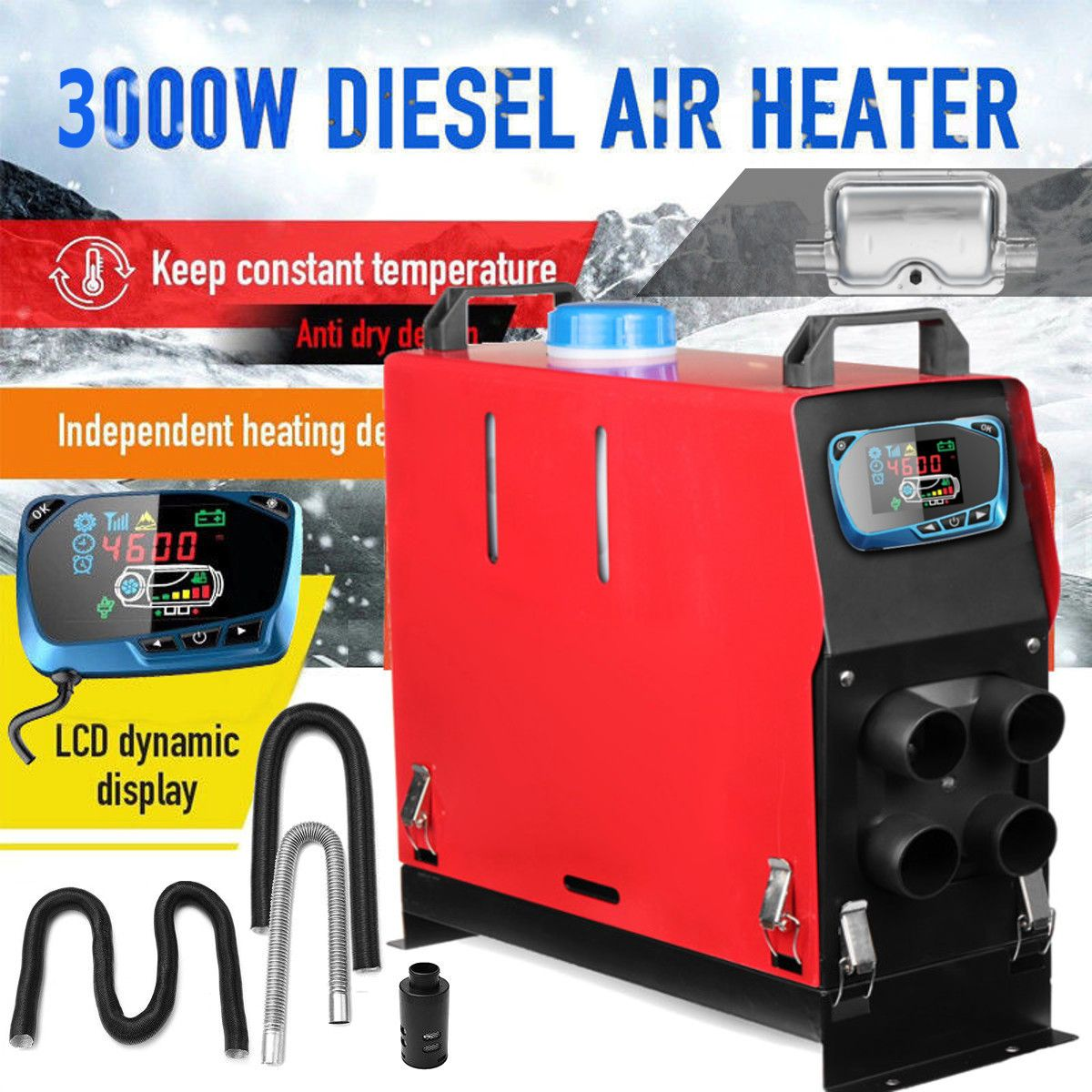 3000W Air diesels Heater 3KW 12V Car Heater For Trucks Motor-Homes Boats Bus +Newest LCD key Switch + Silencer