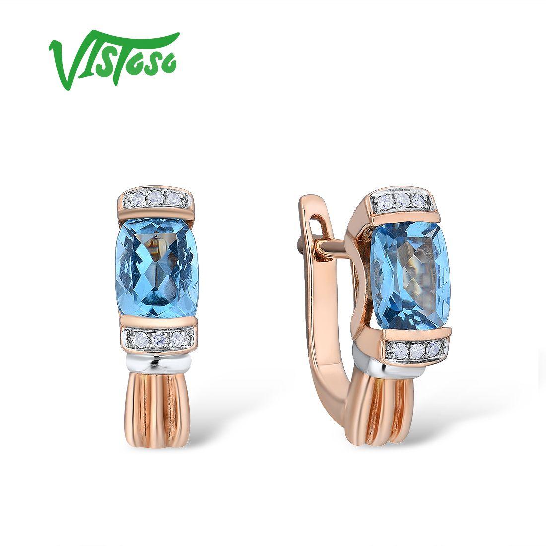 VISTOSO Gold Ohrringe Für Frauen 14 K 585 Rose Gold Funkelnden Funkelnden Luxus Diamant Blau Topas Hochzeit Edlen Schmuck