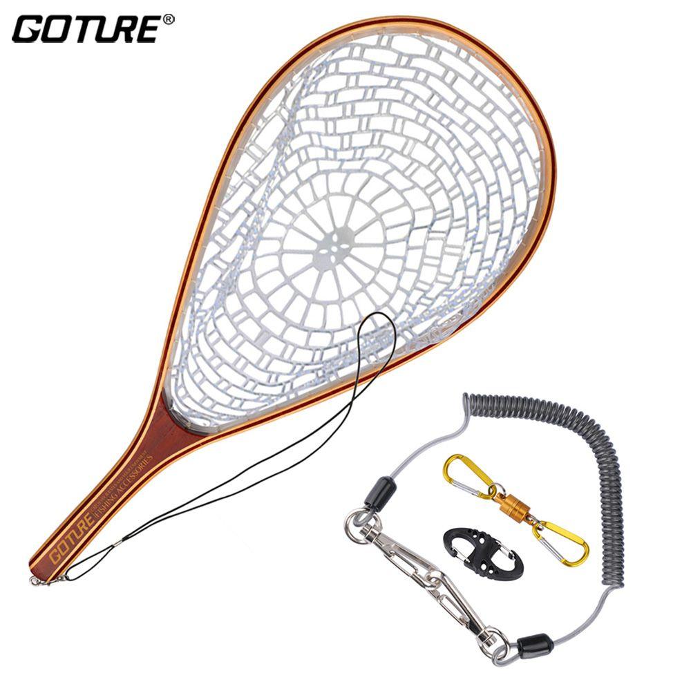 Goture Trout Bass Fly Angeln Zubehör Monofilament Nylon Kescher Set + Lanyard Seil Magnetische Schnalle 8-Form Schnelle schnalle