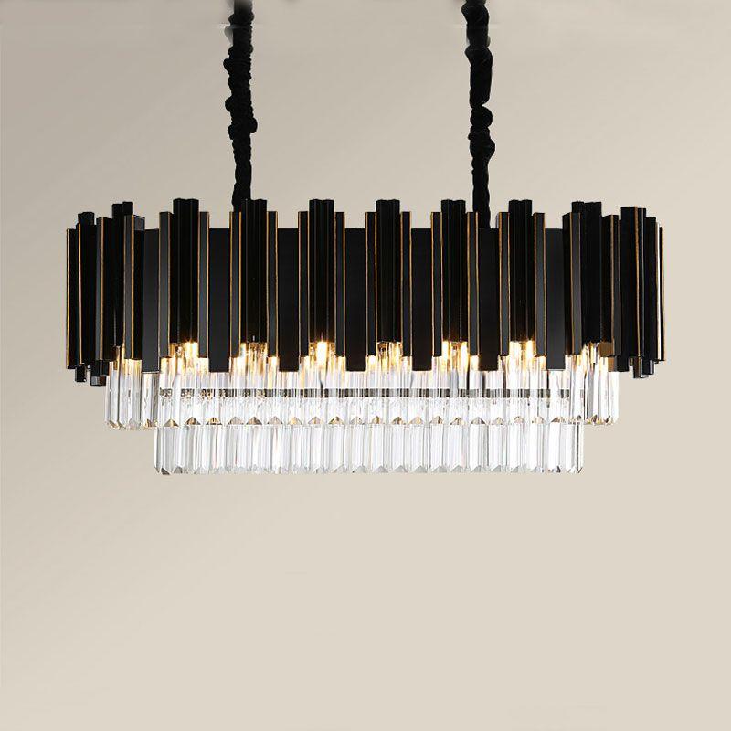 Kristall kronleuchter led licht luxus post-moderne schwarz metall rechteckigen kreative persönlichkeit Nordic stil leuchte