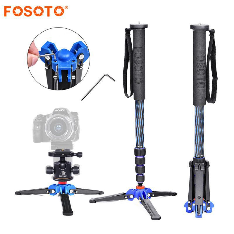 fosoto C-222 Carbon fiber Camera flexible Mini Tripod Stand Portable monopod Ball head Mount For Dslr Professional Camera Phone