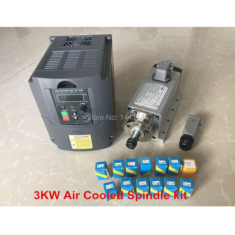 Luftgekühlte Spindel 3KW 220 V/380 V Motor CNC Router Werkzeuge VFD Inverter 13 stücke ER20 Spannzange für Millin Maschine